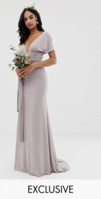 tfnc cold shoulder wrap maxi bridesmaid dress with fishtail